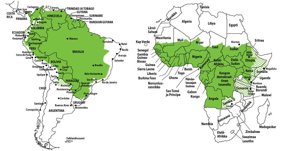 Keltakuumeen tartuntavaaran alueet. Kuva: THL
