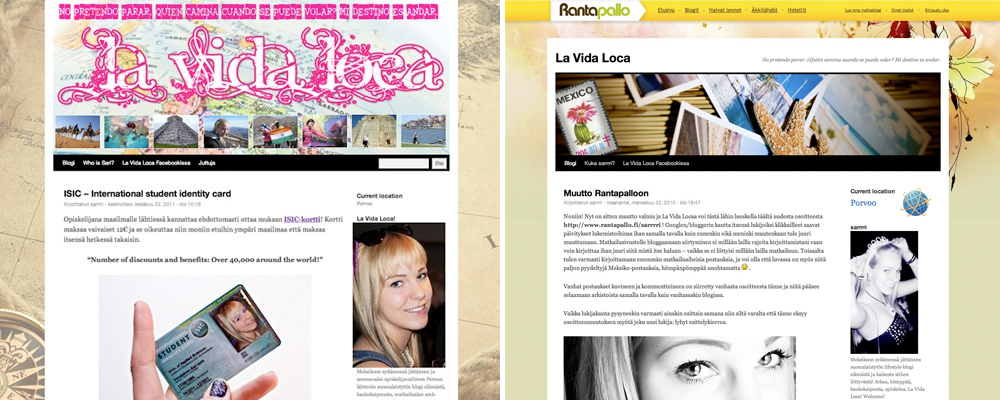 Blogihistoriikki | La Vida Loca 2.0 Travel Blog | www.sarrrri.com