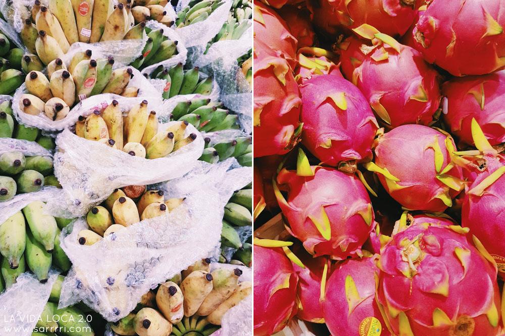 Matkapäiväkirja Bangkok supermarket thaimaa hedelmät dragonfruit banaani
